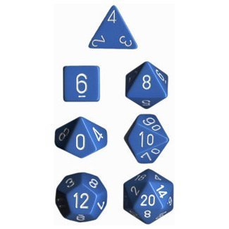 Polyhedral 7-Die Opaque Dice Set - Light Blue with White
