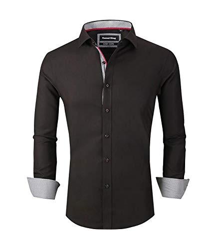 Casual King Mens Dress Shirts Wrinkle-Free Long Sleeve Button Down Formal Shirt (Black,XLarge) ()