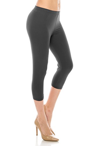 ALWAYS Women Basic Capri Leggings - Solid Buttery Premium Soft Stretch Yoga Workout Fitness Pants Charcoal Plus (Best Leggings Not See Through)