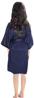 Sommer Kinder Robe Mädchen Kimono Kleid Knielang Dünne Nachtwäsche Kinder Nachtwäsche Bad Robe Baby Bademantel Kleid-navy blue1-S