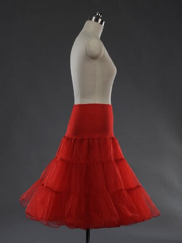 Remedios 50's Bridal Party Dress Vintage Petticoat/Underskirt/Crinoline, Red, Large