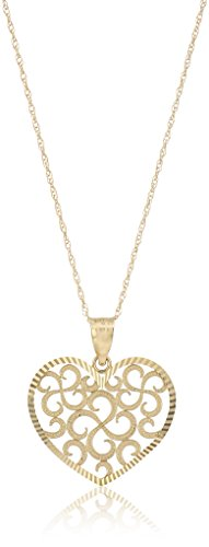 14k Yellow Gold Swiss Cut Heart Novelty Pendant Necklace, - Pendant Swiss Cut Yellow