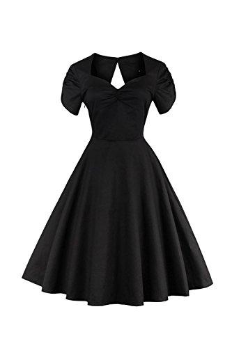Mujeres Summer Short Sleeve Backless Cocktail Swing Vestido De Fiesta Black