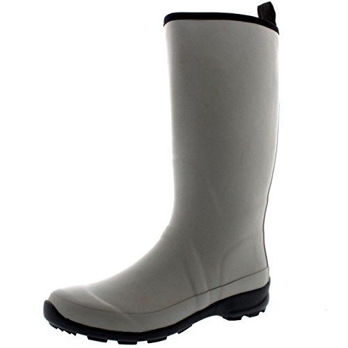 Polar Products Damen Kontrast Sohle Hohe Gummi Muck Winter Schnee Outdoor Gummistiefel Stiefel Grau