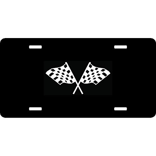 URCustomPro Nascar Indy Checkered Racing Flag(4) Popular Front License Plate Cover Funny Humor - Personalized Aluminum Metal Auto Car Tag 4 Holes (12 X 6 inches)