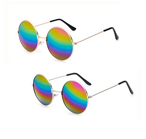 Penta Angel 2Pcs Colored Round Retro Hippie Sunglasses Vintage 60's 70's Style John Lennon Circle Glasses for Men Women Kids Party Favors Dressing Costume Accessory -