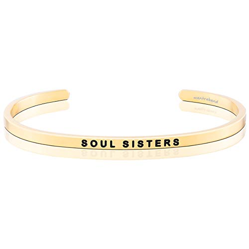 MantraBand Bracelet - Soul Sisters - Inspirational Engraved Adjustable Mantra Cuff - Yellow Gold - Gifts for Women (Yellow)