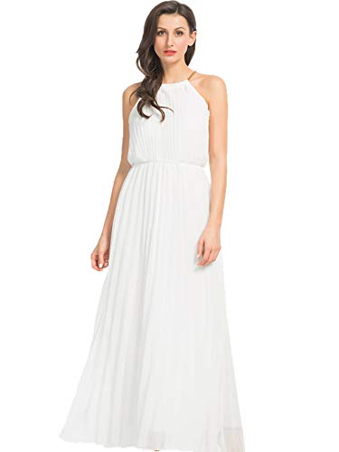 Persun Women's Open Shoulder Cut Out Back Pleated Chiffon Sleeveless Maxi Dress White Small -