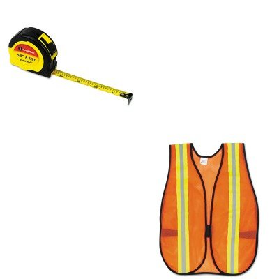 Great Neck KITCRWV201RGNS95007 - Value Kit ExtraMark Power Tape (GNS95007) and Mcr Safety Orange Safety Vest (CRWV201R)