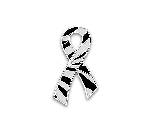 Fundraising For A Cause 50 Large Flat Zebra Print Ribbon Pins (Wholesale Pack - 50 ()