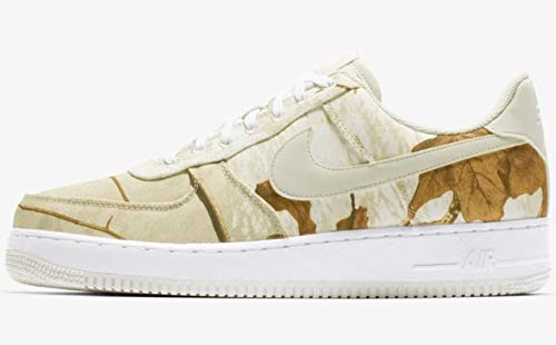 (Nike Men's Air Force 1 LV8 White/Light Bone/Real Tree Camo Leather Casual Shoes 11.5 M US)