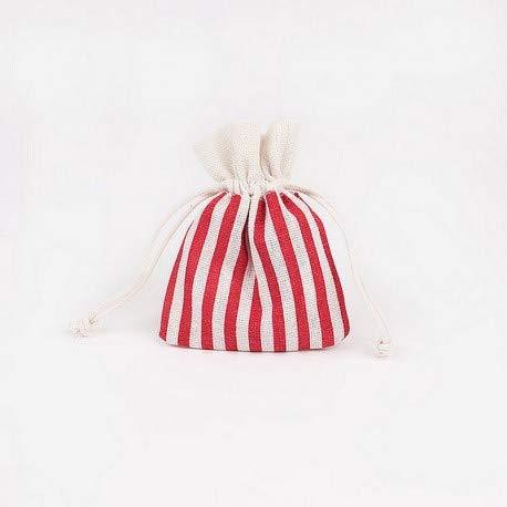 dim Petit Sac avec Cordon th/ème Marin Lot de 5 Pochons Ray/és Rouge et Blanc en Coton 8 x 10 cm