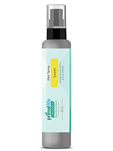 SWEET HAIR SPRAY BEST ORGANIC Hair Spray- Maintains Shine and Diminishes Frizz—Hydrates and Strengthens Brittle Hair - 100% Organic – Safe for The Environment - Primal Life Organics