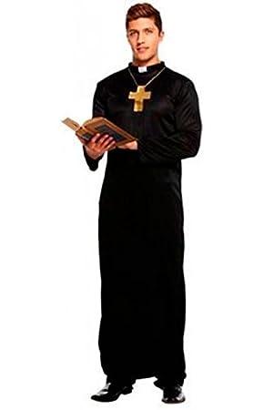 Fancy Me Herren Schwarz Vikar mit Kreuz Religiös ...