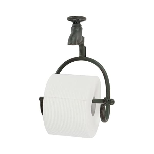Lily's Home Vintage Rustic Wall Mount Toilet Paper Roll Holder, Country Design Crafted to Look Like Spigot Faucet and is Ideal for Any Whimsical Décor Style, Green Patina 3