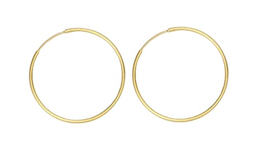 18K Gold Polished Continuous Endless Hoop Earrings, Thick 2-mm Tube 60-mm / 2.36-inch Round (LARGE)