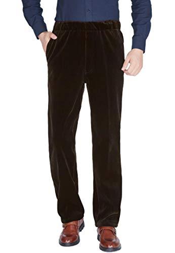 - Soojun Senior Men's Fleece Lined Elastic Waist Corduroy Pants, Coffee, 30W x 32L