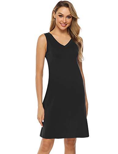 Aibrou Nightgowns for Women Cotton Nightshirts Sleeveless Nightdress V Neck Sleep Dress Black L