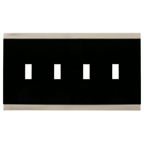 Brass Toggle Switchplate - Franklin Brass 135763 Basic Stripe Quad Toggle Switch Wall Plate / Switch Plate / Cover