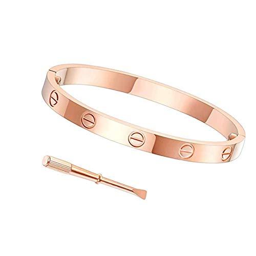 Byqone Love Bracelet, Screw Bracelet, 18k Titanium Steel Bracelet, Buckle Bangle Bracelet with Screwdriver 6.7Inch Rose ()