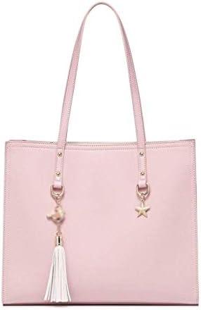 HEMFV 女性ラージトートバッグ-タッセルフェイクレザーショルダーハンドバッグ、ファッションレディース財布サッチェルメッセンジャーバッグ (Color : Pink)