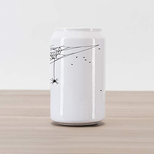 - Ambesonne Spider Web Cola Can Shape Piggy Bank, Corner Cobweb with a Hanging Insect Hand Drawn Style Gothic Design with Flies, Ceramic Cola Shaped Coin Box Money Bank for Cash Saving, Black White