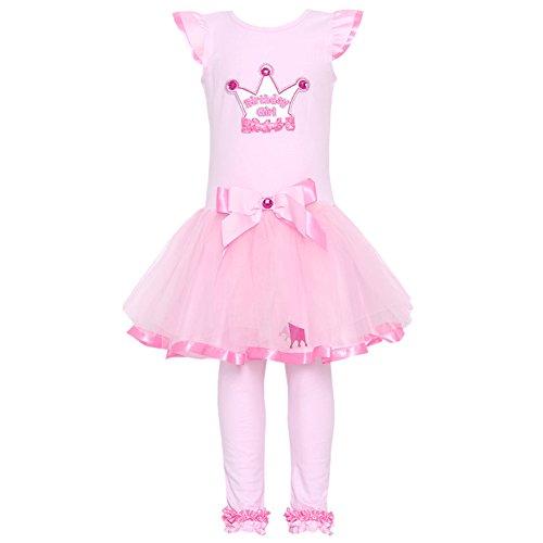 Pink Rare Editions Capris (Rare Editions Little Girls Pink Crown Birthday 2 Pc Tutu Dress Legging Set 4T)