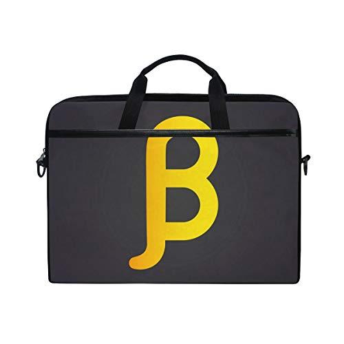 Slim Laptop Shoulder Bag Compatible Fits for 15-15.4 Inch Tablet Yellow Beta Letter Durable Laptop Briefcase Business Office Bag Notebook Messenger Bag for ()