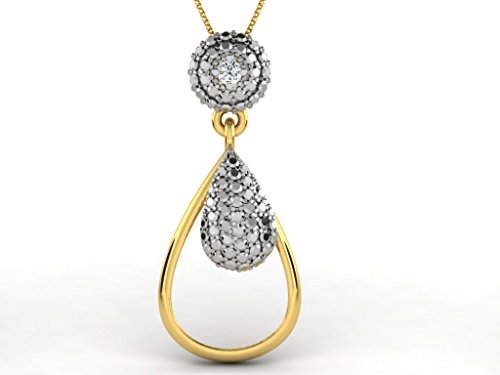 Or Jaune 14 ct Pendentifs Diamant en forme de poire, 0.02 Ct Diamant, GH-SI, 1.96 grammes.
