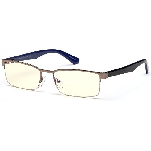 Gamma Ray Blue Light Blocking Glasses - Amber Tint - Anti Glare Eye Strain for Computer Gaming TV Digital Screens - 0.00