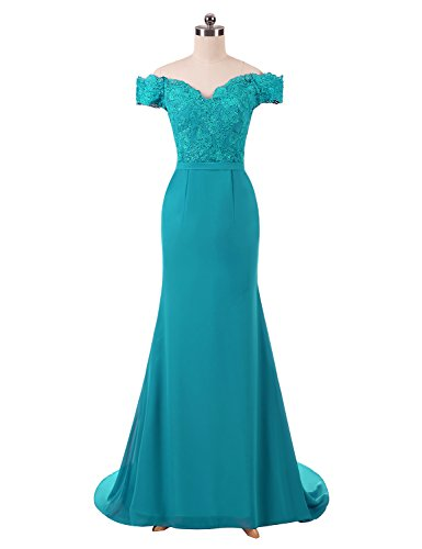 BRLMALL Women's Lace Off Shoulder Wedding Party Dresses Long Formal Party Gowns Chiffon Mermaid Turquoise 8