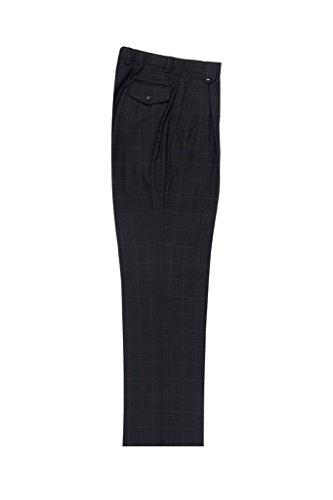 Tiglio Luxe Black and Brown Jacquard Cream Windowpane Wide Leg, Pure Wool Dress Pants 2576 50G16/254/4