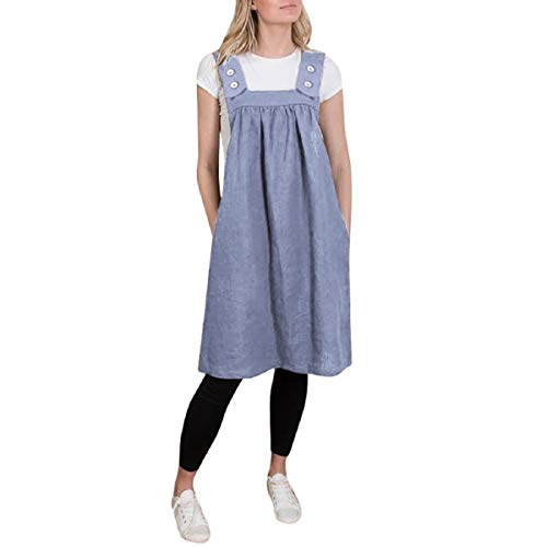 134 Cotton Cover (OTINICE Women Casual Dresses Cotton Strap Pleated Pinafore Loose Overall Work Dresses Blue)