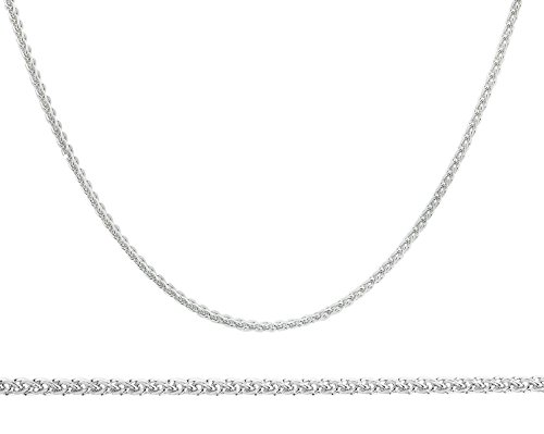NYC Sterling Unisex Sterling Silver 1.5MM Wheat Spiga Chain Necklace (20