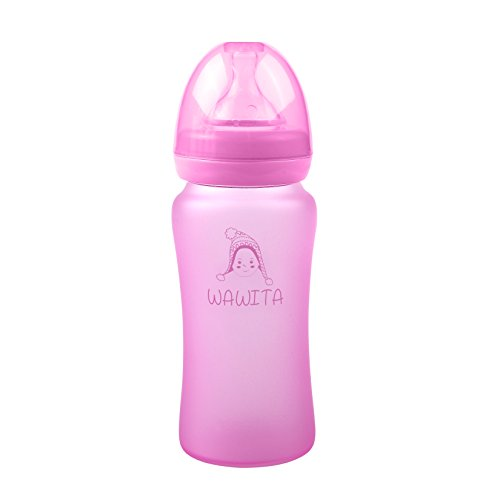 Wawita Glass Baby Bottle with Protective Silicone, Soft Medi