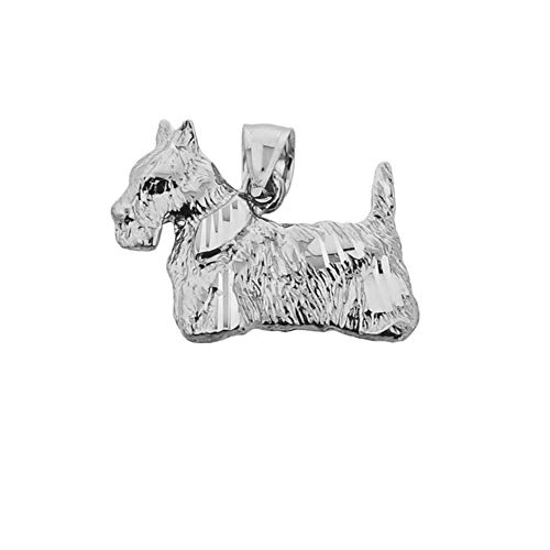 - Textured 10k White Gold Scottish Terrier Dog Charm Pendant