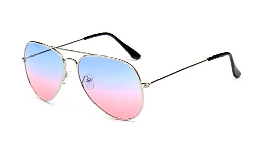 GAMT Classic Personality Aviator Oversized Sunglasses with Metal Frame for Men and Women Blue - Glasses Online Police