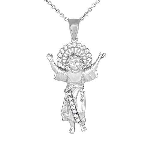 Sterling Silver Divino Niño Jesús Divine Infant Jesus Cubic Zirconia Pendant Necklace, Small, 20