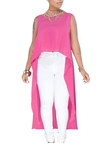 YouSexy Women's Tunic Tops Sleevless Dovetail Hem Chiffon Blouse T-Shirt Dress Rose