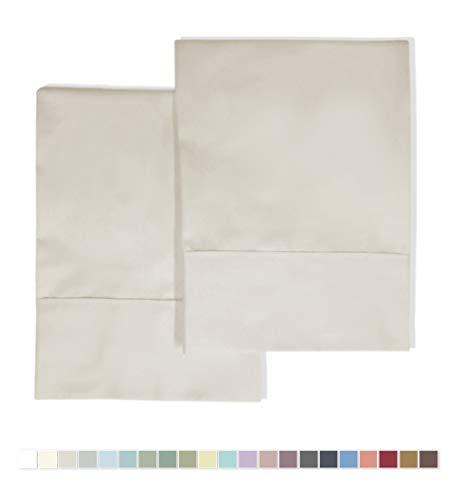 - Pizuna 400 Thread Count Cotton Standard Pillowcases Beige 100% Long Staple Cotton Soft Satin Pillowcase with Stylish 4