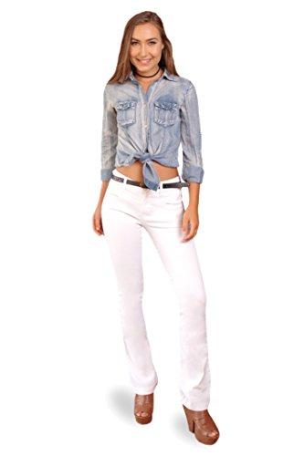 (Bebop Women's Bootcut Pant, White, Size 11, Stretch Cotton Twill, Removable Belt)