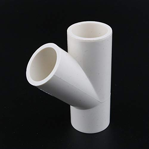 (Kammas 2Pcs Inner Diameter 25Mm 45 Degree Tilted Tee Connectors 3 Way Connector PVC Water Supply Material Durable 3/4'' Fittings - (Diameter: Inner Diameter 25 Mm, Color: White))