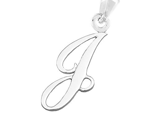 Silver Initial Sterling Pendant (CloseoutWarehouse Sterling Silver Letter J Classic Script Initial Pendant (Letters A-Z Available))