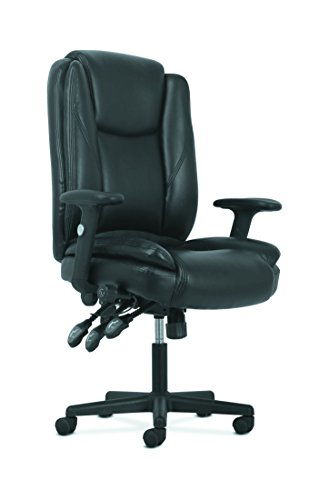 HON Sadie High-Back Leather Office/Computer Chair – Ergonomic Adjustable Swivel Chair with Lumbar Support (HVST331)