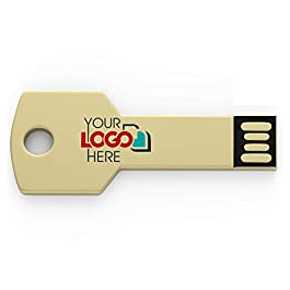 Possibox Custom Key Shaped USB Flash Drive 128MB Customized with Your Logo – as Promotional Gift – Bulk – Gold 50 Pack
