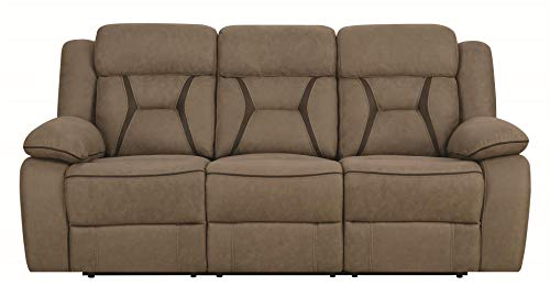 Houston Motion Sofa with Contrast Stitching Tan (Microfiber Reclining Couch)