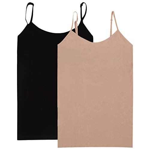 - Women Tops Small, BollyQueena Tops For Girl Control Top Tank For Yoga Workout Pack 2 Black&Light Brown M