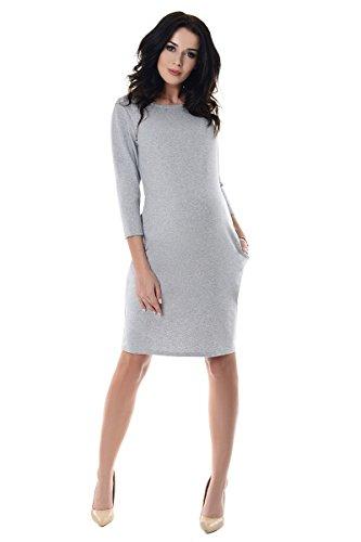 Purpless Maternity Vestido de Embarazo Con Bolsillos 6107 Light Gray