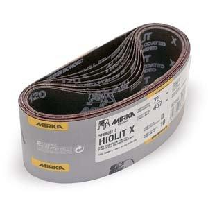 Mirka 57-4-24-080 4'' x 24'' Hiolit X-Weight 80 Grit Heavy Duty Portable Abrasive Sanding Belts - Qty. 50 by Mirka