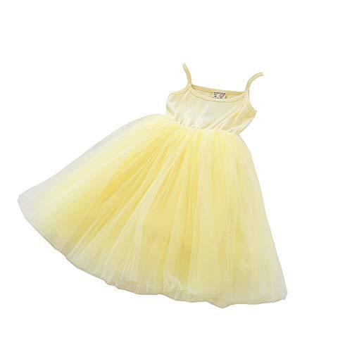 Baby Girls Tutu Dress Sleeveless Infant Toddler Sundress Tulle Bubble 5 Layers Yellow